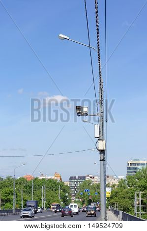 Nizhny Novgorod Russia. - May 19.2016. Surveillance Camera on the road and commit violations of speed limits on Kanavinsky bridge