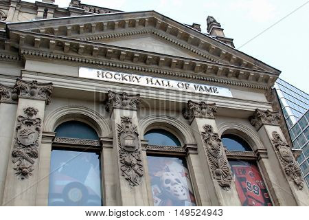 Hockey Hall Of Fame Facade In Toronto, Canada
