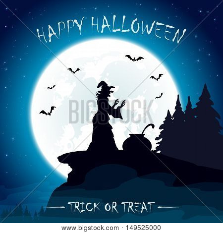 Halloween night with moon on blue sky background, witches cauldron and old witch on the mountain, illustration.