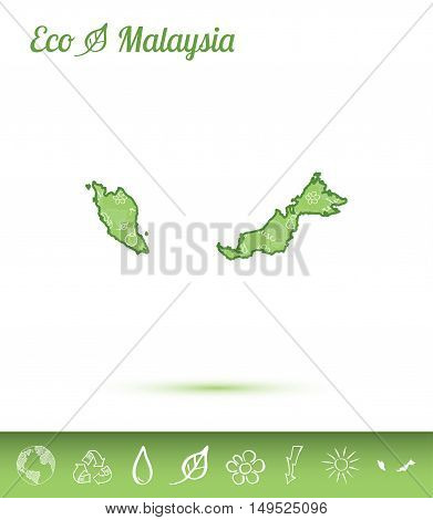 Malaysia Eco Map Filled With Green Pattern. Green Counrty Map With Ecology Concept Design Elements.