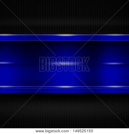 blue metal banner on black carbon fiber. metal background. 3d illustration.