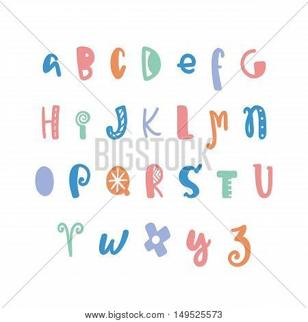 Funny hand drawn colorful alphabet. Vector letters set. Fun style with decorations.