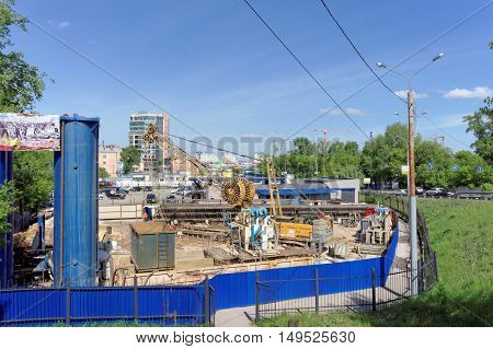 Nizhny Novgorod Russia. - May 19.2016. Construction of the metro station Lenin Square