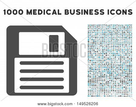 Floppy icon with 1000 medical business gray and blue glyph pictograms. Collection style is flat bicolor symbols white background.