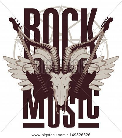 emblem with an electric guitar wings and goat skull