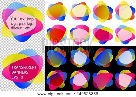 Labels in overlay transparency blend; Backdrops stickers from rounded shapes for your text logo price tag discount; Set of transparent templates informative banners Eps10