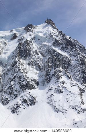 Aiguille du midi from Chamonix. France. Europe