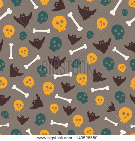 Seamless Halloween pattern. Vector background with different elements. Design for prints, shirts and posters.
