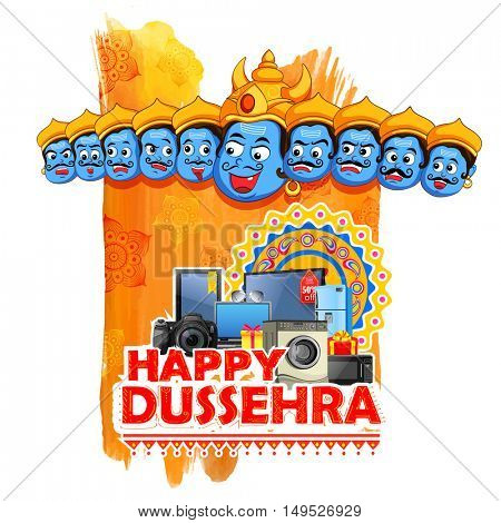 illustration of ten headed Ravana for Happy Dussehra sale promotion