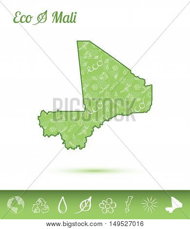 Mali Eco Map Filled With Green Pattern. Green Counrty Map With Ecology Concept Design Elements. Vect