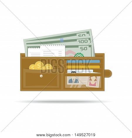 Open leather men wallet with money, gold coins, checks, credit cards, driver's license or document determining identity, photo woman. Vector illustration in flat design on white background. Purse Icon