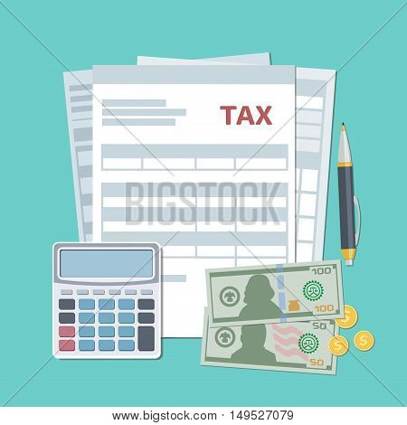 Tax payment concept. State taxes, calculation. Top view. Vector illustration in flat design.