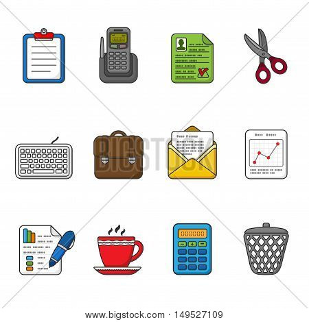 Vector business icons set. Color outlined icon collection. Tablet, case, cup, graphics, pen, telephone, portfolio, keyboard, message, calculator, trashcan, scissors, paper, envelope.
