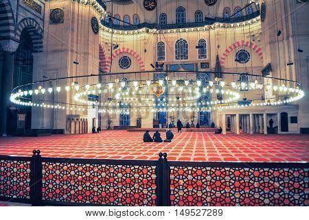 Turkey, Istanbul - January 8/2013: Orthodox Pilgrims Visited The Aya Sophia Mosque In Christmas.