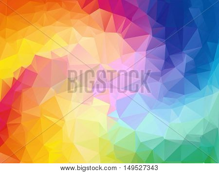 Colorful swirl rainbow polygon background. Colorful abstract vector. Abstract rainbow color Triangle Geometrical Background, Rainbow polygon swirl design. Rainbow Colorful swirl rainbow polygon.
