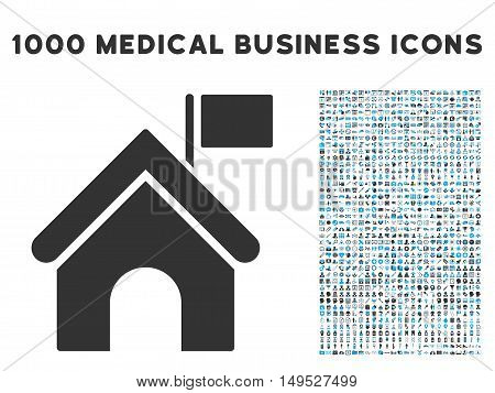 Government Building icon with 1000 medical commercial gray and blue glyph pictographs. Design style is flat bicolor symbols white background.