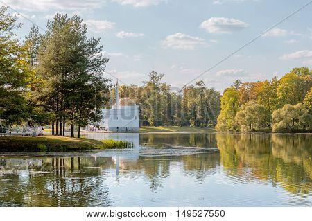 Turkish bath pavilion at Great Pond in Catherine Park. Golden autumn in Pushkin Tsarskoe Selo near St.-Petersburg, Russia.
