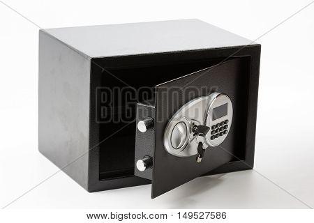Opened Black Metal Safe Box With Numeric Keypad Locked System And Keys