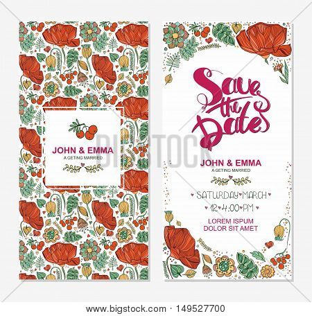 Marriage Invitation Card With Save The Date Tag And Decorative Flower Flower Frame Over Wooden Backg