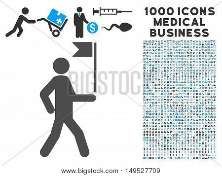 Guide Man With Flag icon with 1000 medical commerce gray and blue glyph pictographs. Design style is flat bicolor symbols white background.