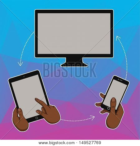 Flat design concept for website template - mobile app smartphone social media business. Web banners or headers vector illustration. Web banner with laptop tablet mobile