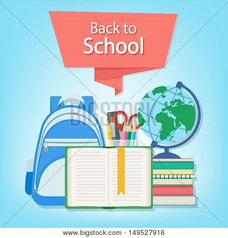 Back to school text on the red banner. Open book with a bookmark and school supplies such as a backpack, textbooks, notebook, globe, stationery set. Flat Style Education Concept. Vector illustration.