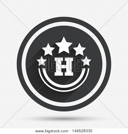 Five star Hotel apartment sign icon. Travel rest place symbol. Circle flat button with shadow and border. Vector