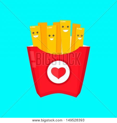 French fries in paper box, isolated vector flat design illustration. Smiling french fries character