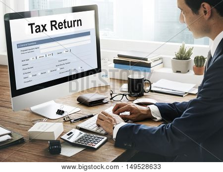 Tax Return Financial Form Concept