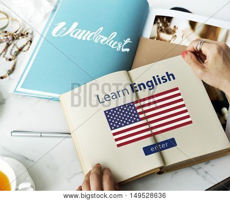 Learn English Language Online Education Concept