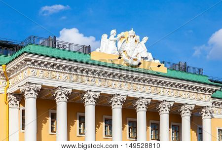 Sculptural composition on the roof of Lobanov-Rostovsky Palace. Building at Admiralteysky Avenue in Saint Petersburg Russia constructed in 1817-1820