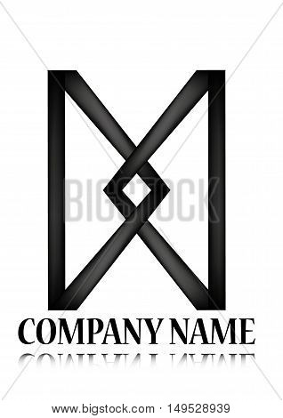 logo, black line, company name - vector illustration