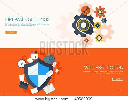 Vector illustration. Shield. Data protection and security.