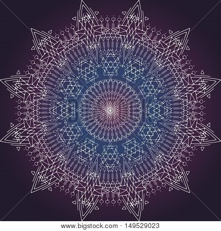 Vector Space Mandala Sign. Imitating deep Space. Sacral meaning