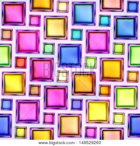 Seamless texture of abstract bright shiny colorful geometric shapes.