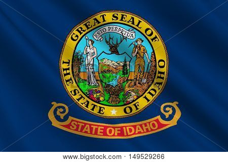 Flag of Idaho state in the northwestern region of the United States. 3D illustration