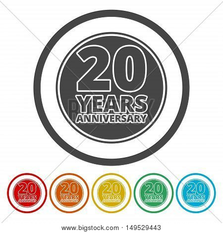 Anniversary icon set. Anniversary symbols isolated on white background. 20 years