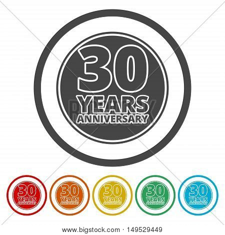 Anniversary icon set. Anniversary symbols isolated on white background. 30 years