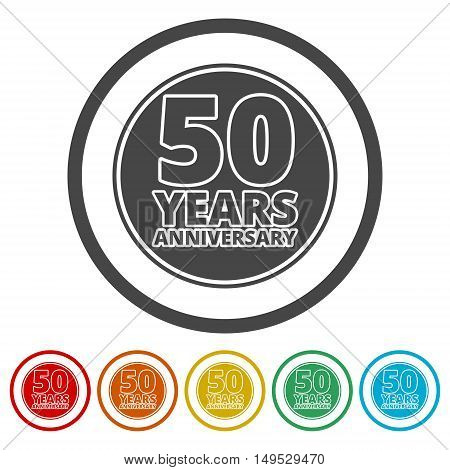 Anniversary icon set. Anniversary symbols isolated on white background. 50 years