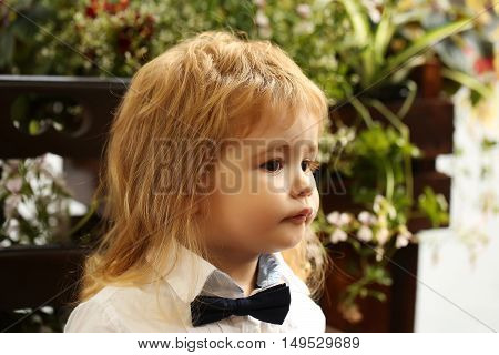 Cute little boy with blond hair in white shirt and black bow tie sits on summer door on natural background