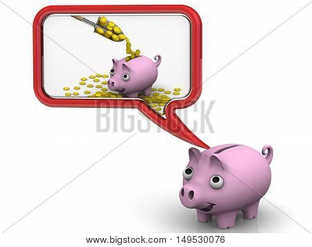 Pig piggy bank dreaming about a lot of money. Isolated. 3D Illustration