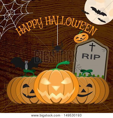 Vector illustration of Halloween poster with Jack's lantern pumpkins spider headstone bat on the wood background.