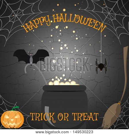 Vector illustration of Halloween poster with broom magic cauldron spider bat pumpkin on the cracked background.
