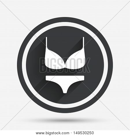 Women bra and panties sign icon. Intimates underwear symbol. Circle flat button with shadow and border. Vector
