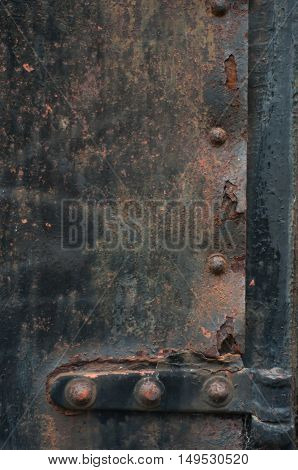 Closeup Of Hinge Section Of An Iron Door Or Gate