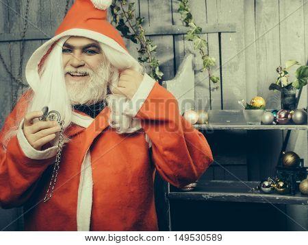 Santa Man With Clock Medallion