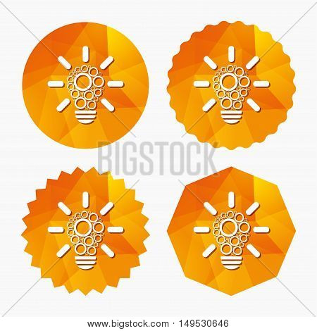 Light lamp sign icon. Bulb with circles symbol. Idea symbol. Triangular low poly buttons with flat icon. Vector