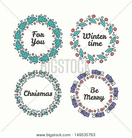 Christmas Wreath Set. Line Style Winter Collection. Greeting Typography. Hand Drawn Circle Frame With Wishes. Vector Illustration. Be Merry.