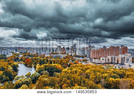 City skyline at autumn cloudy day time. Moscow. Russia.