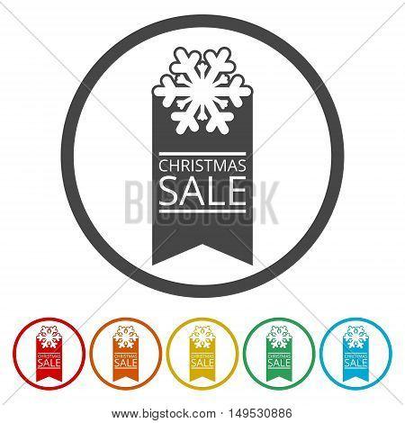 Big Christmas sale icon set on white background